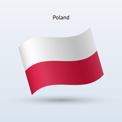 Poland flag waving form. Vector illustration.