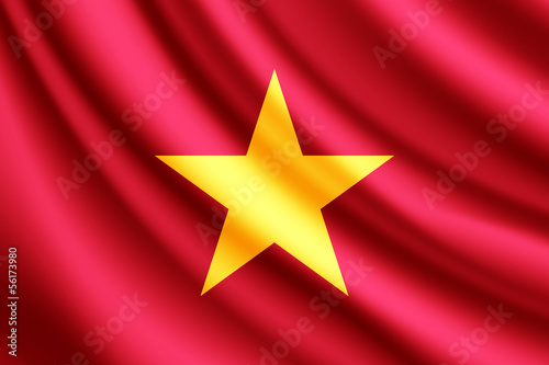 Waving flag of Vietnam, vector