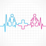 Heartbeat make male,female and medical symbol stock vector
