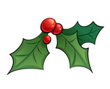 Cartoon mistletoe shinny decorative ornament with black outlines