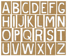 alphabet letters made from cardboard paper, school background