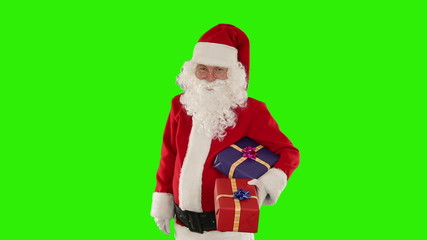 Santa Claus holding presents, Green Screen
