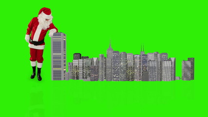 Santa Claus magically building a modern city, Green Screen