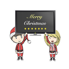 Boy with Santa Claus costume holding a photo. Vector design