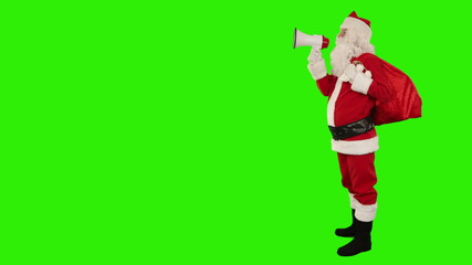 Santa Claus with a loudspeaker, Green Screen