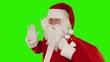 Santa Claus carrying his bag, sends a kiss, Green Screen