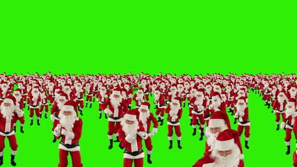 Santa Claus Crowd Dancing, Christmas Party, Green Screen