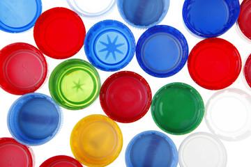 colorful plastic bottle caps background