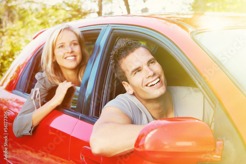 Young people in the car