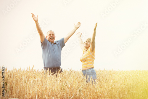 Old people over field background