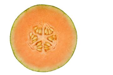 Orange honeydew melon isolated in white