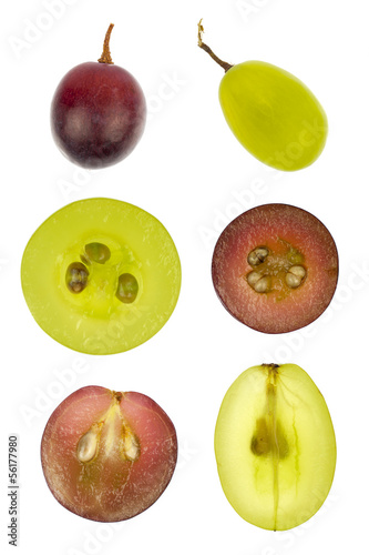 Collage of sliced red and green grapes