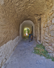 picturesque alley, Chios island, Greece