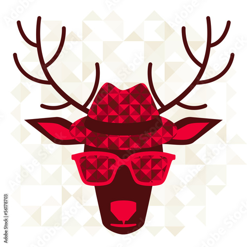 Print with deer in hipster style.