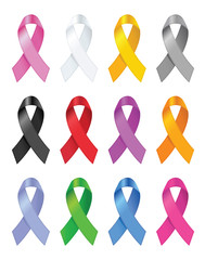 Awareness ribbons. Vector illustration.