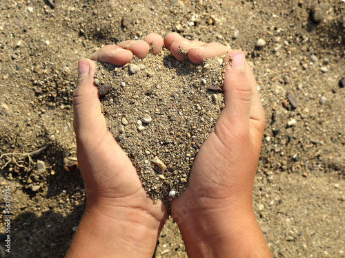 child hand, playing sand