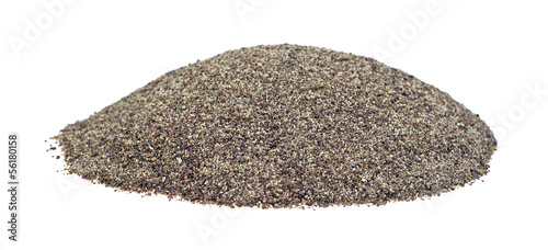 Ground pepper on a white background