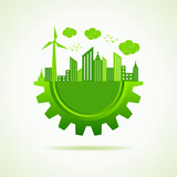 Eco a cityscape with gear stock vector