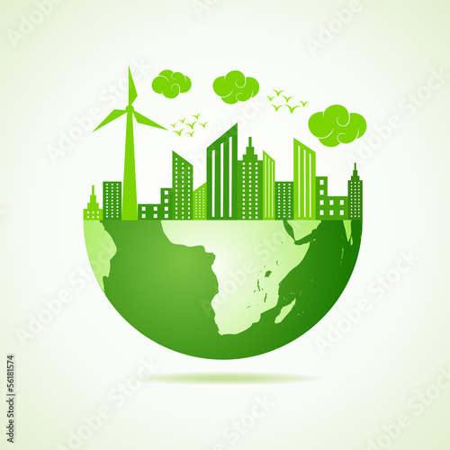 Eco earth concept with green cityscape stock vector