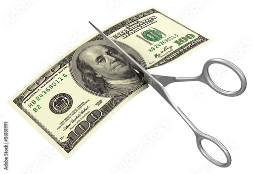 Scissors and dollar (clipping path included)