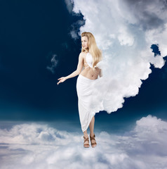 Ancient Greek Goddess in Clouds