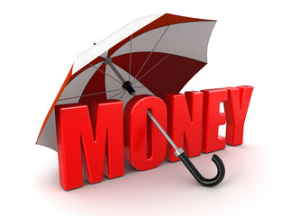 Money under Umbrella (clipping path included)