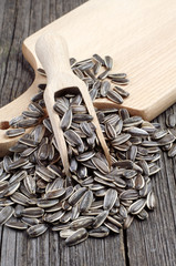 Sunflower seeds and spoon
