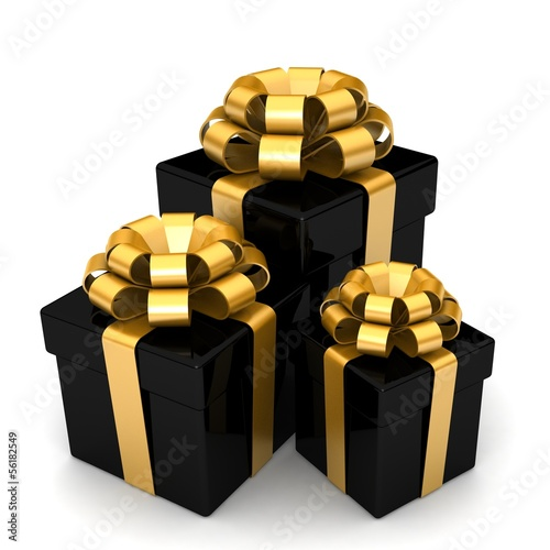 3D bright multicolored gift boxes with colorful ribbons