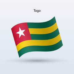 Togo flag waving form. Vector illustration.