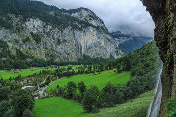 Cliff face and waterfall in Lauterbrunnen, Switzerland