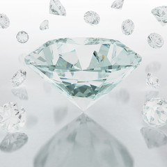 3D illustration of diamond on white background