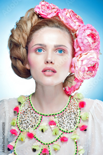 Woman beauty face fashion portrait in suit - 56185128