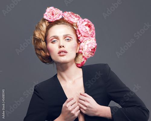 Woman beauty face fashion portrait in suit - 56185145
