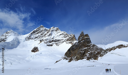 canvas print picture Mountain peaks in the Jungfrau region of Switzerland