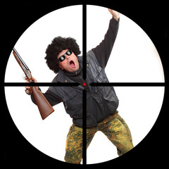 Dangerous gangster in a police sniper's scope.
