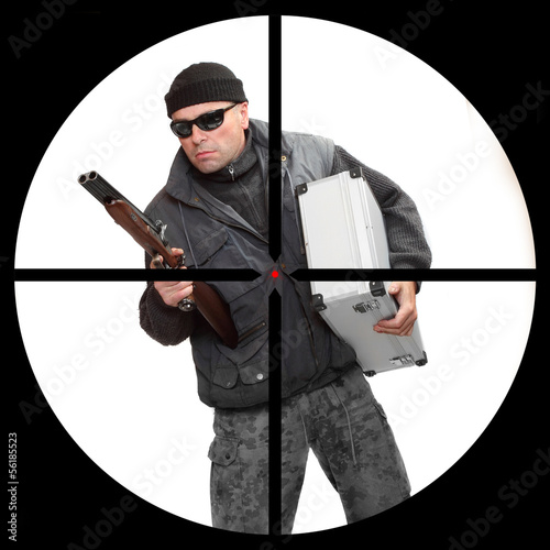 Dangerous gangster in a police sniper's scope.