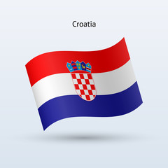 Croatia flag waving form. Vector illustration.