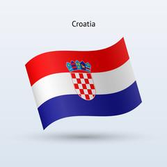 Croatia flag waving form. Vector illustration.