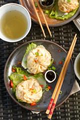 steamed dumplings plated macro