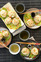 steamed dumplings overhead