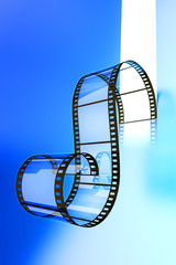 Video film strip on a blue background