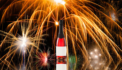 Fireworks and wine bottle