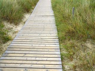 Weg mit Holzbrettern zum Strand