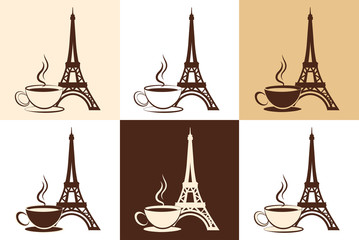 Silhouette of the Eiffel Tower and a cup of coffee. Logo