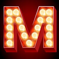 Old lamp alphabet for light board. Letter M