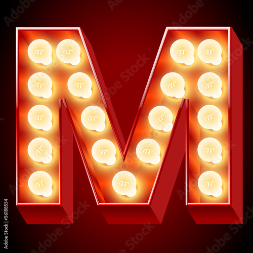Old lamp alphabet for light board. Letter M