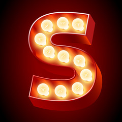 Old lamp alphabet for light board. Letter S