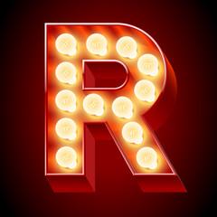 Old lamp alphabet for light board. Letter R