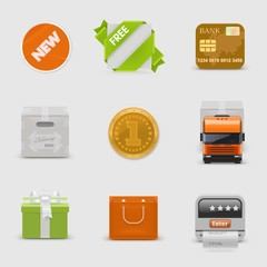 retail and delivery vector icon set