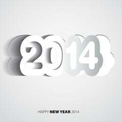 Happy New Year 2014 white vector card